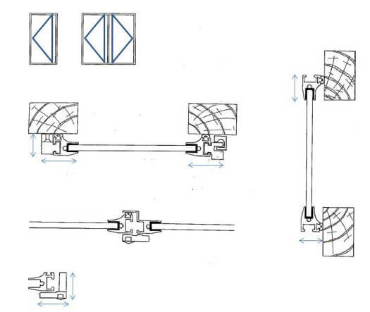 Lift Out / Hinged Unit / Panel Secondary Glazed Windows Technical Detail: Plan View