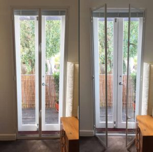 Double gazing french doors with hinge in frame secondary glazing